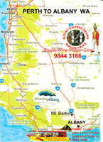 Perth to Albany Map